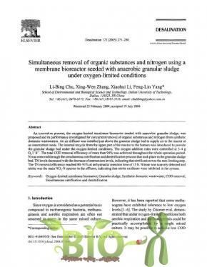 Simultaneous removal of organic substances and nitrogen using a membrane bioreactor seeded with anaerobic granular sludge under oxygen-limited conditions