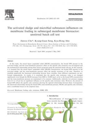 The activated sludge and microbial substances influences on membrane fouling in submerged membrane bioreactor: unstirred batch cell test
